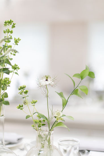 Bamford Brompton Cross neutral green foliage and white flowers tablescape