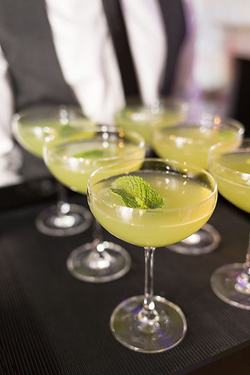 Colourful green cocktails with mint