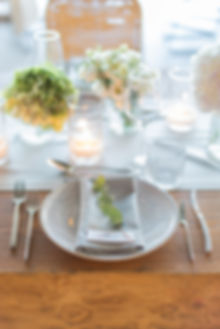 Solymar Mykonos Greek wedding dinner tablescape green and white placesetting