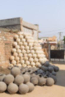 Traditional handmade ceramic pots in village outside Johpur India