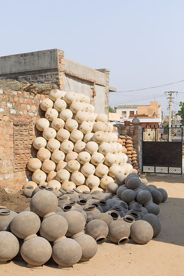 Traditional handmade ceramic pots in village outside Johpur India