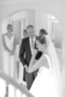 Father first look seeing daughter in Jesus Peiro wedding dress from Miss Bush Bridal