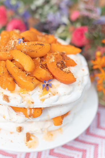 Peach meringue cake inspiration with colour flowers for summer styled tablescape shoot