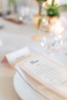 Pink menu place setting for The Wing London dinner tablescape at ICA Gallery