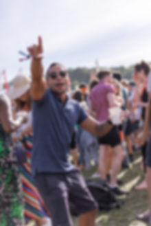 Man in crowds dancing at Soho House Festival