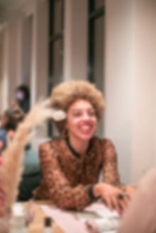Woman smiling having manicure at The Wing London launch party