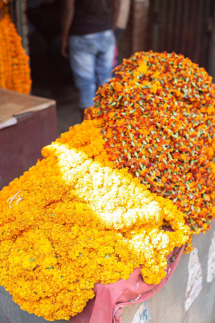 Colourful orange and yellow flower market in Varanasi India