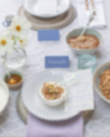 Breakfast brunch tablescape styled lifestyle shoot with calligraphy menu and granola