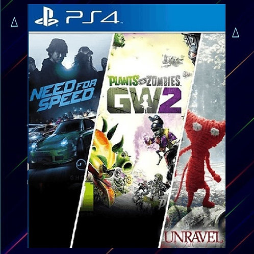 NEED FOR SPEED + PLANTS VS ZOMBIE 2 + UNRAVEL - Midia Digital (PS4)