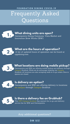 FAQ's for Cal Poly Pomona Dining (COVID-19 Edition)