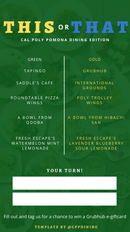 """""""This or That"""" Template for Cal Poly Pomona Dining"""