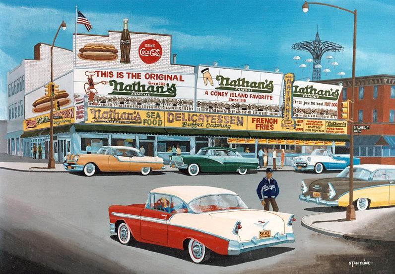 Nathan's Hot Dogs, Coney Island, NY (1956)