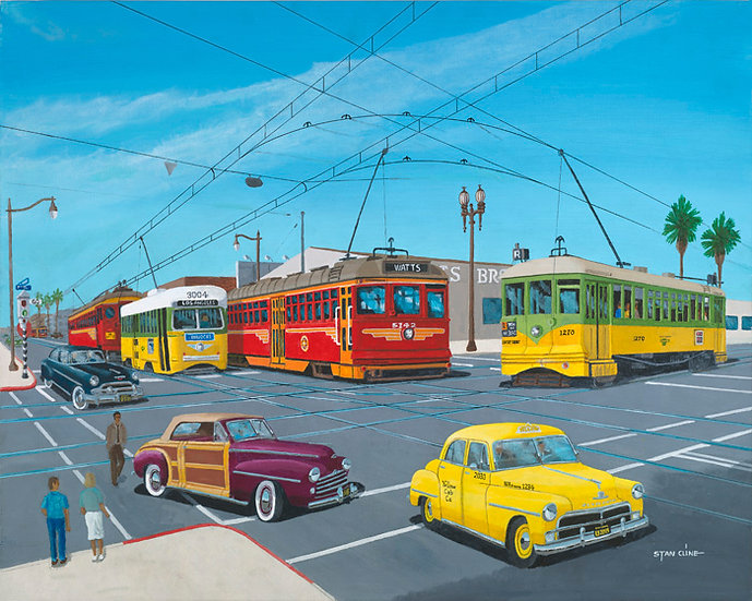 Trolleys at 7th & San Pedro St. Los Angeles (1951)
