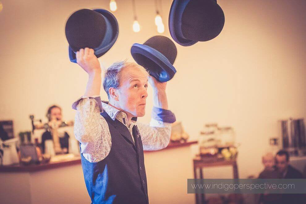 UK Circus performer Lucas Jet doing his circus show at a wedding in Bristol