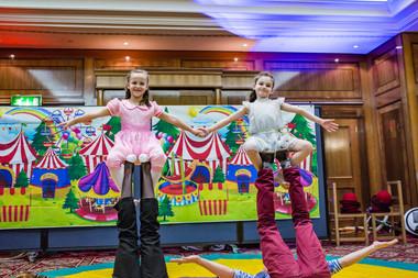 Acrobatic performances by birthday girls