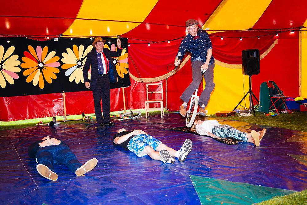 unicycling circus act