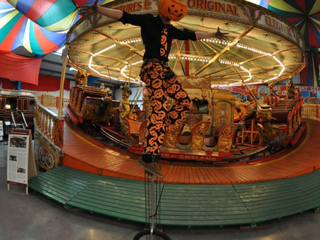 Halloween themed entertainment at Dingles Heritage Fairground, Devon
