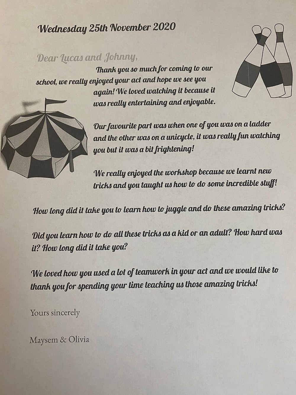 circus skills thank you letter