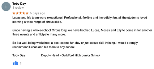 Independent Schools Circus Workshop Supp