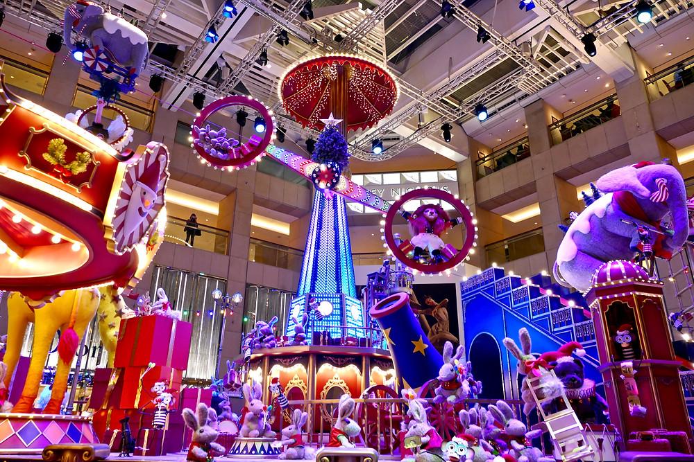 Christmas circus installation in Hong Kong