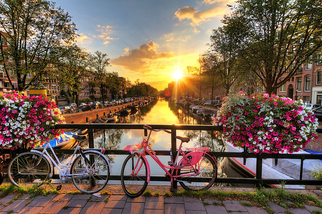 Beautiful sunrise over Amsterdam, The Netherlands, with flowers and bicycles on the bridge