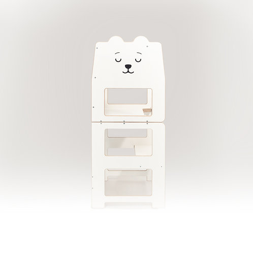 Convertible kitchen tower for toddler /bear white/