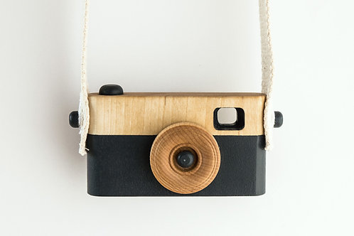 Wooden toy camera BLACK