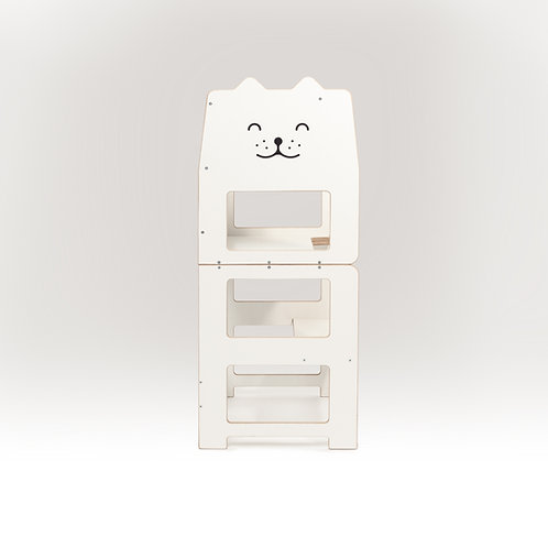 Convertible kitchen tower for toddler  /cat white/