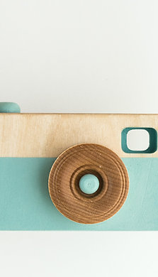 Wooden toy camera LIGHT BLUE