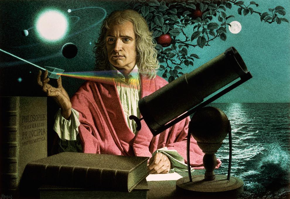 אייזיק ניוטון מחזיק ביו מנסרה המפיצה אור בצבעים שונים