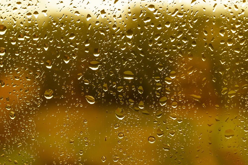 טיפות גשם על חלון