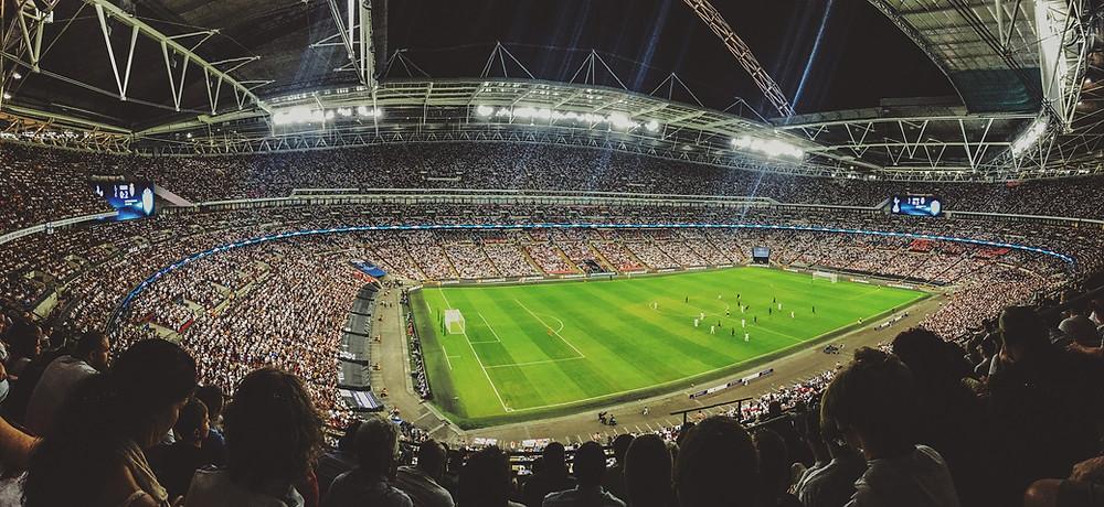 אצטדיון כדורגל במבט מלמעלה