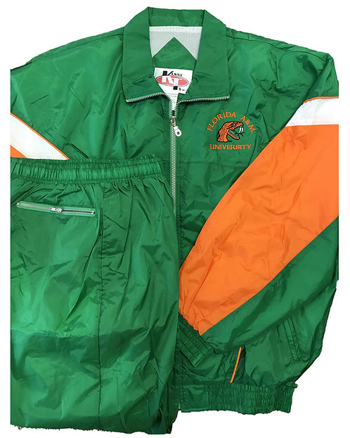 3 Orange and Green Custom Wind Suit