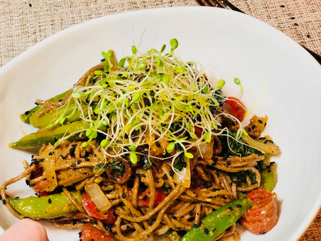 Asian Inspired Colorful & Crunchy Soba Noodle Bowl