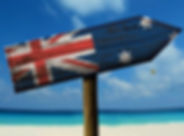 Australia flag wooden sign with a beach