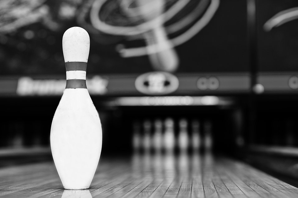 One bowling pin background bowling lane.