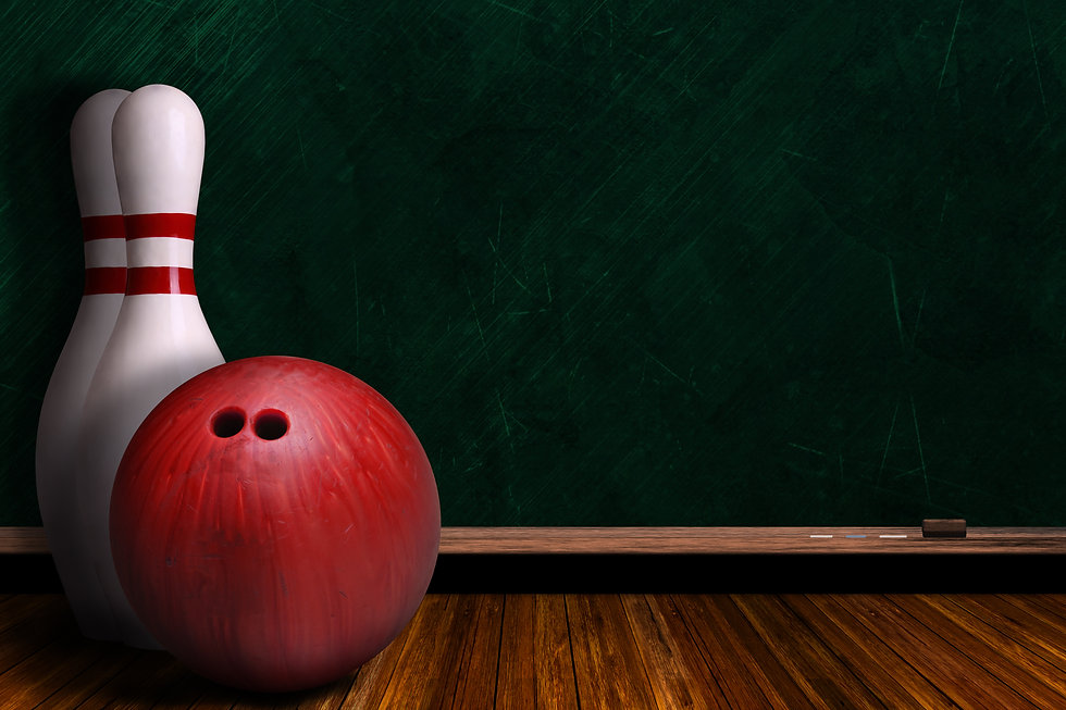 Bowling ball and pins on a background ch