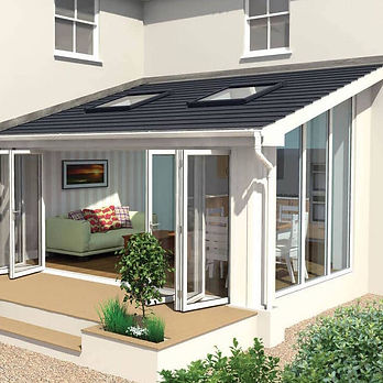 Lean to conservatory with solid roof