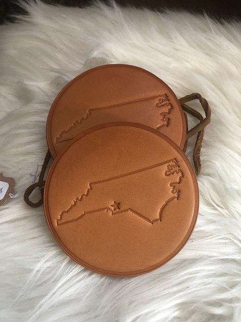 North Carolina Leather Coasters