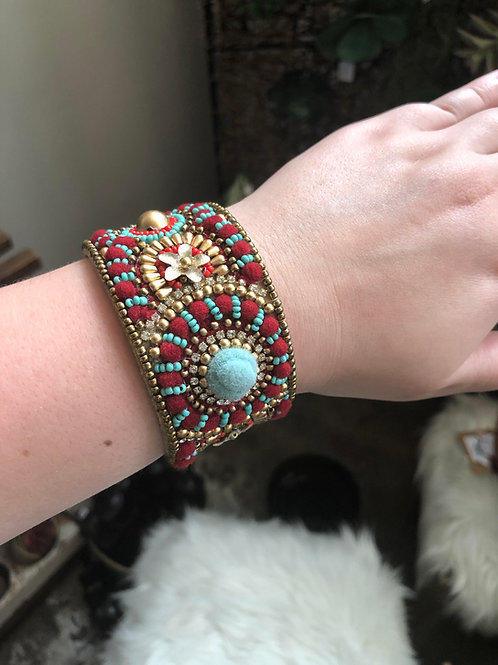 Beaded Open Bangle