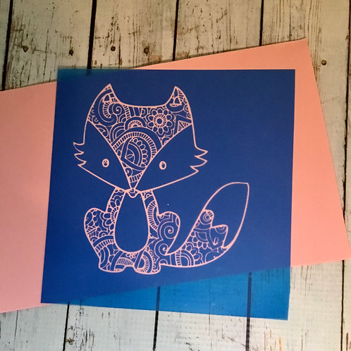 Fox silk screen stencil