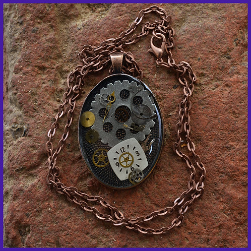 Copper resin and watch part necklace