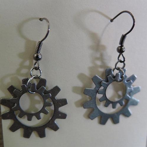 Silver gear earrings