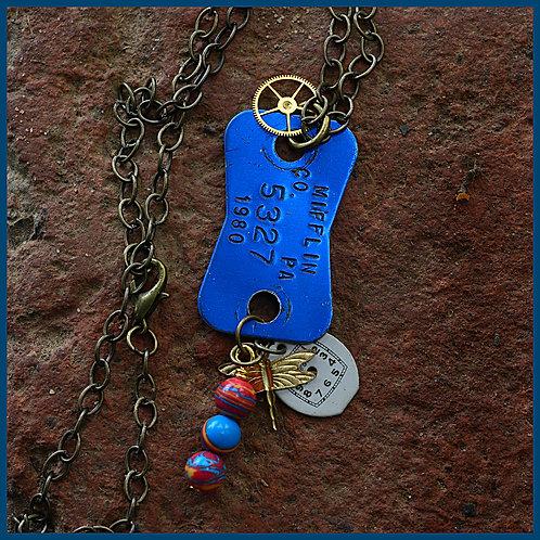 Vintage dog license necklace