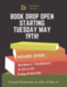 The Book Drop is oen starting May 19th!.