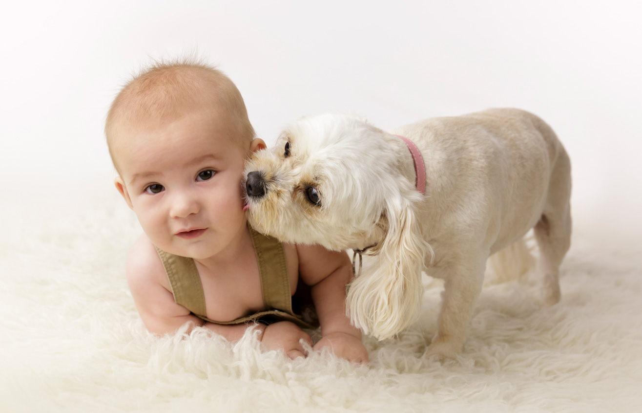5 month baby with Maltese dog