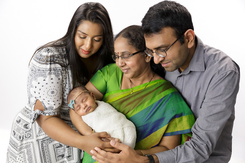 3 generations indian family with baby