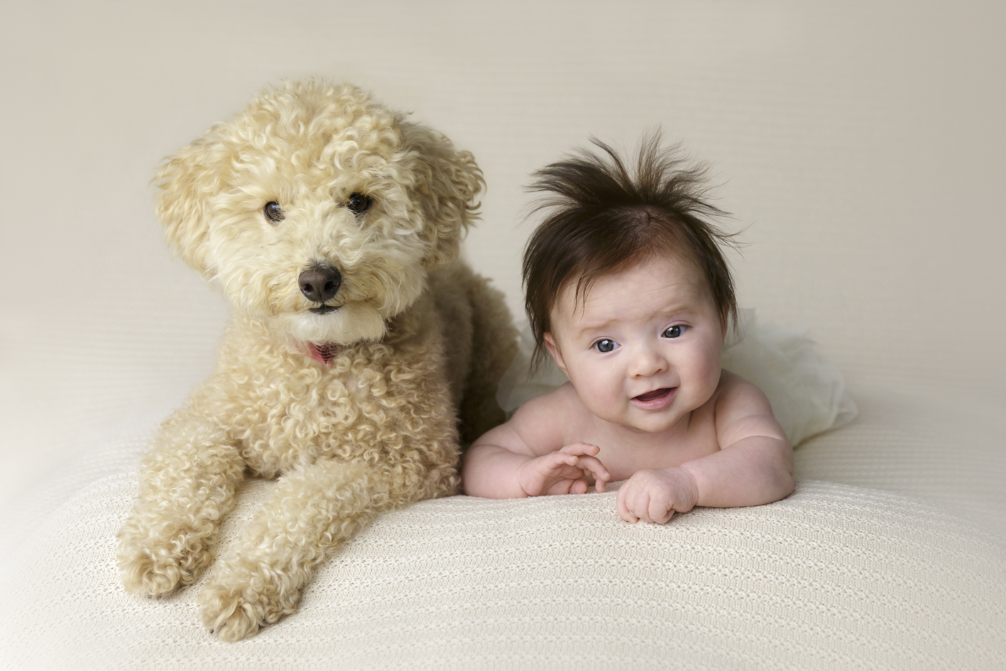 4 month baby girl with her dog