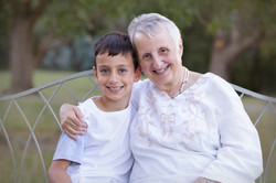grandmother with grandson outdoor