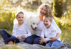 natural family sunset photo with dog
